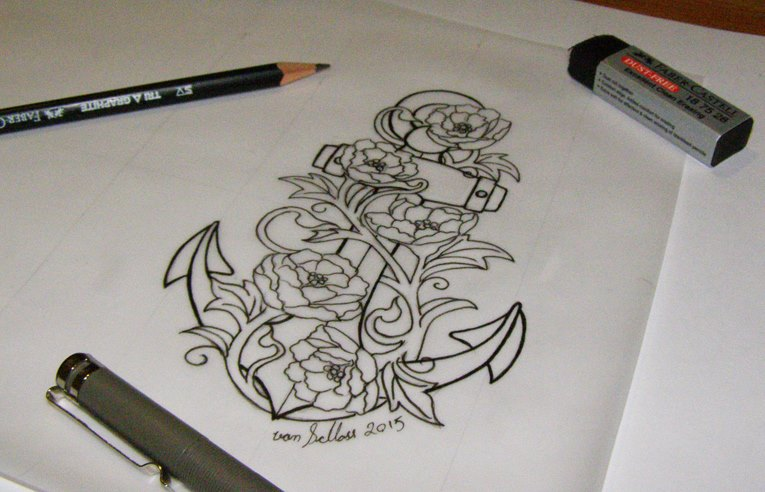 Neo traditional anchor with peonies tattoo design. by vonSchloss