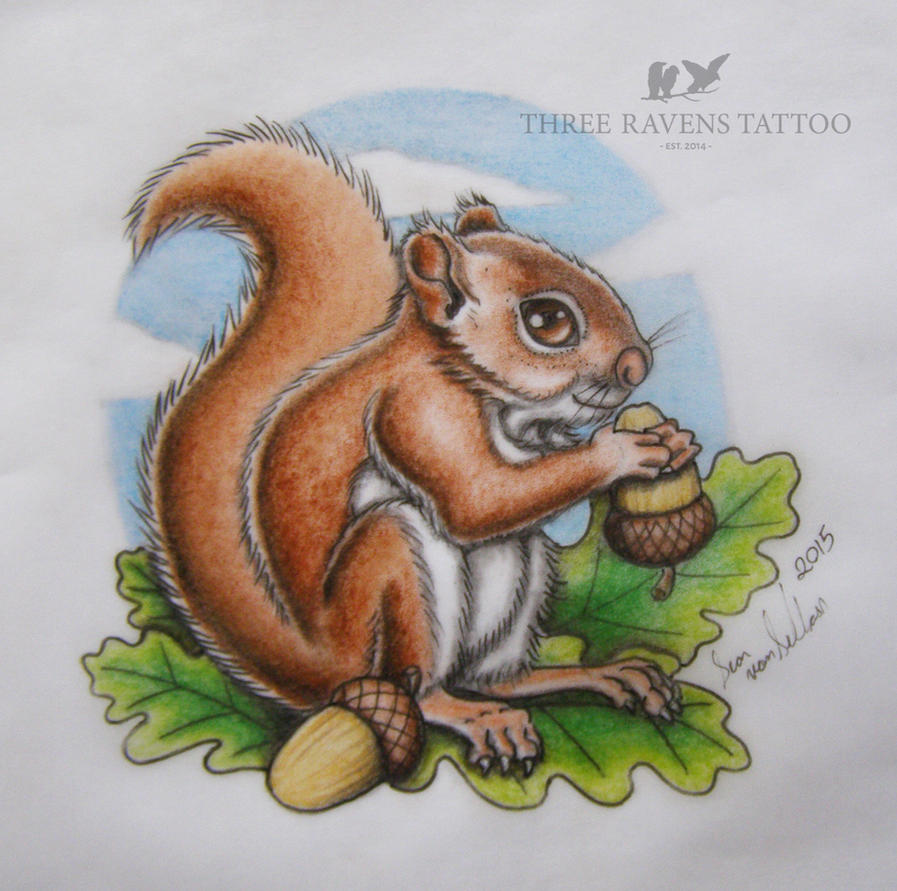 Neo traditional / Illustrative Squirrel Design by vonSchloss