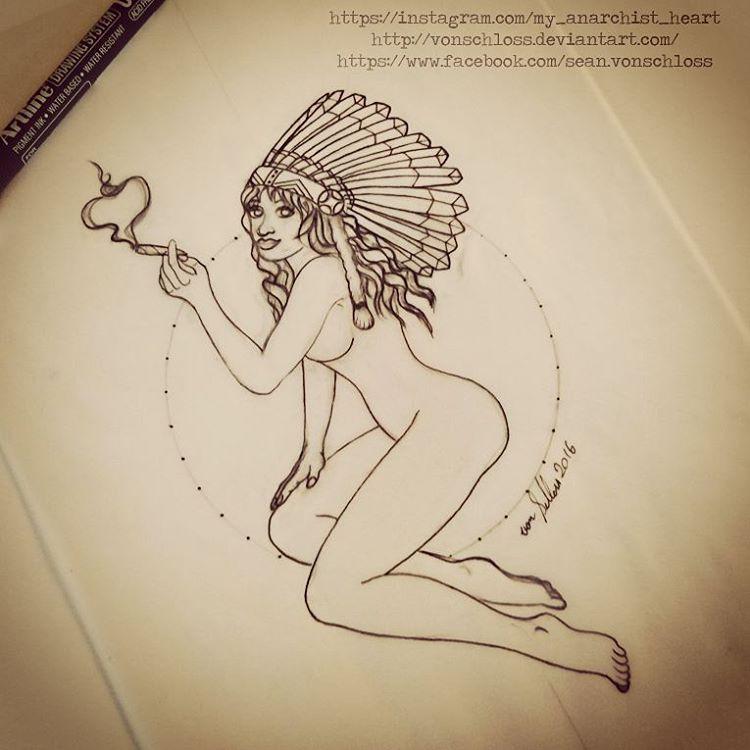 Smoking Pinup Girl Tattoo Design by vonSchloss on DeviantArt