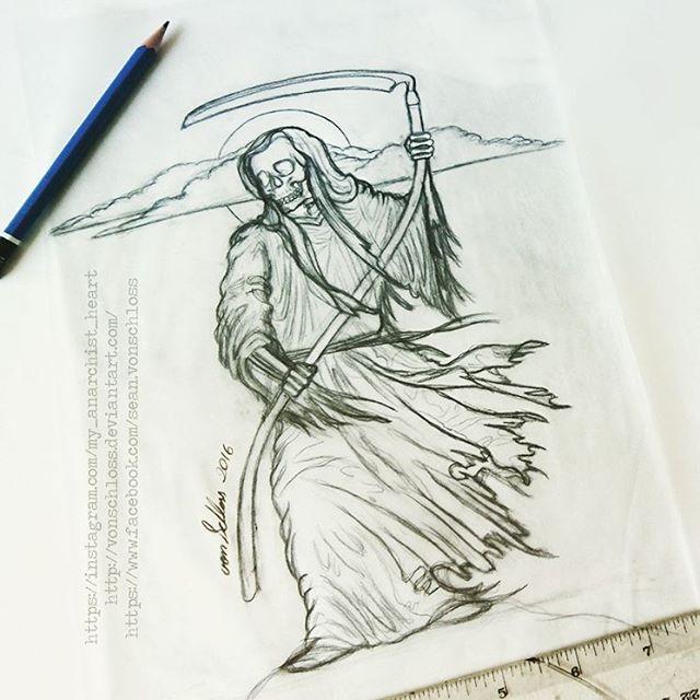 Custom grim reaper tattoo sketch by vonschloss on deviantart custom grim reaper tattoo sketch by vonschloss voltagebd Images