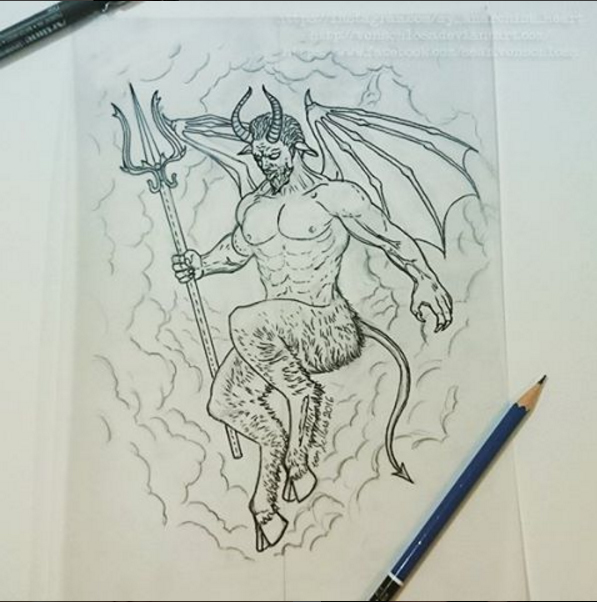Custom Devil / Demon Tattoo design by vonSchloss