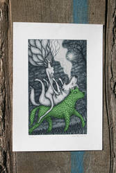 Loup vert Art-print by lingouf