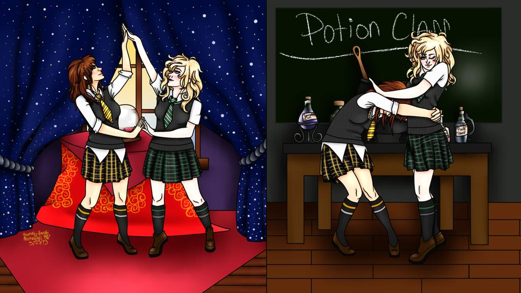 Hufflepuff and Slytherin by MickeyTaei on DeviantArt