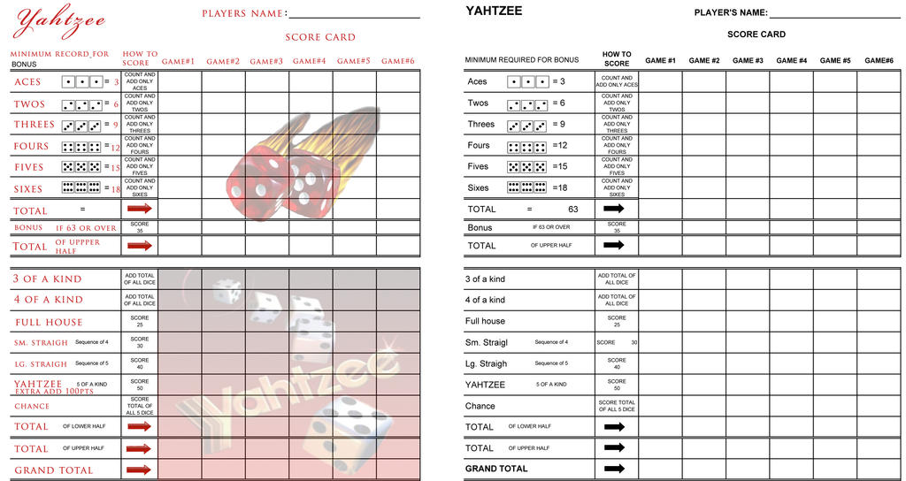 photo relating to Yahtzee Printable Score Cards named Printable Yahtzee Scorecard