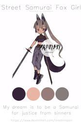[closed][auction]street samurai fox girl adoptable by areahnapan