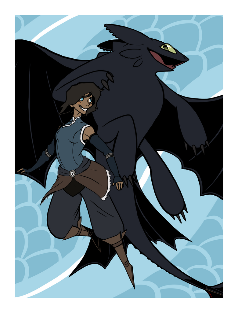 Korra And Toothless by VazlaKat