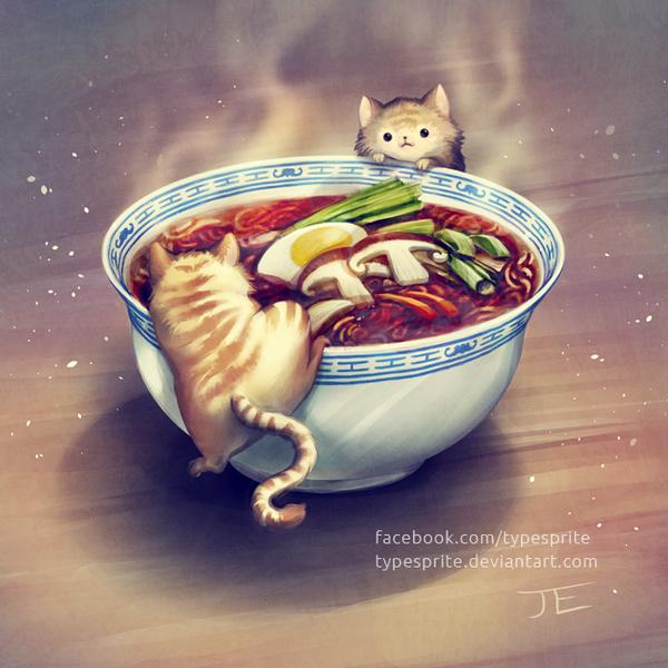 Ramen and Kittens by typesprite