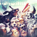 Dogs chasing a hotdog