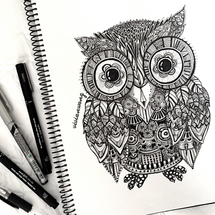 zentangle owl by vivianhitsugaya on deviantart