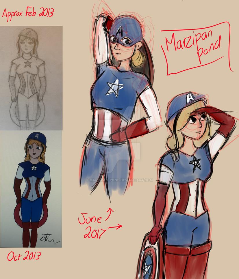 Female Captain America (Redraw: 2013 vs. 2017) by marzipan-pond