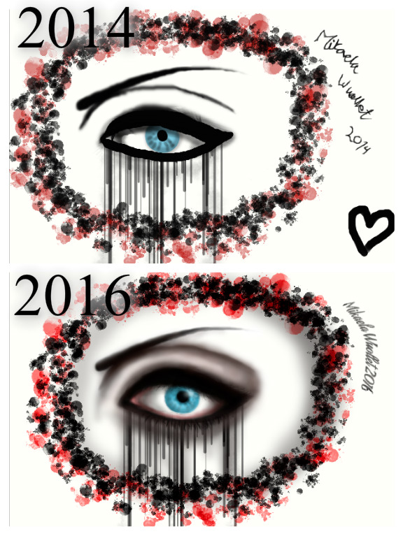 Gothic Eye Before And After Drawing Improvement By KateCarlisse