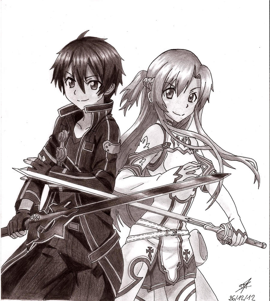 Kirito and Asuna by PrettyLittleWolf