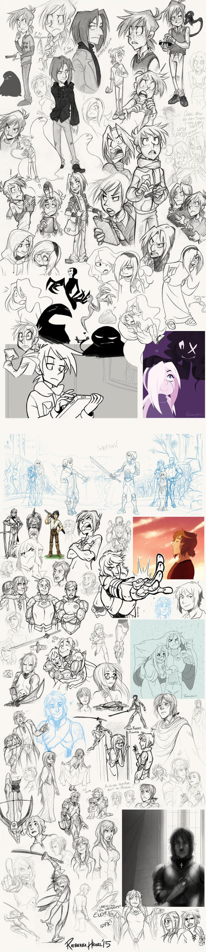 Monster Boy and Serai Sketchdump by ReincarnatedParano