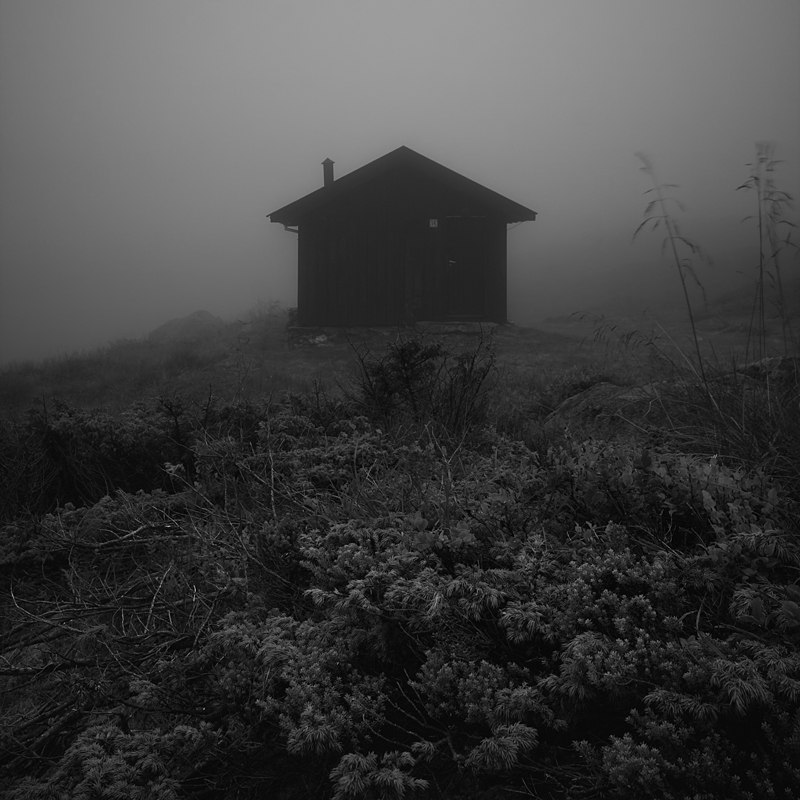 mountain hut in fog by matze-end