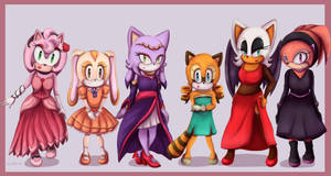 Sonic girls + dresses by Cometshina
