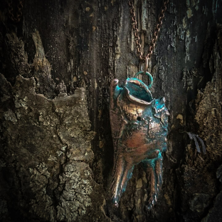 Electroformed Copper Crab Claw Pendant by astis