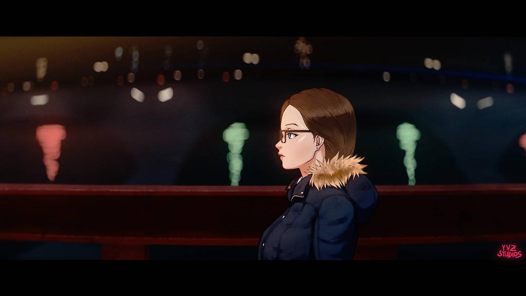 Anamorphic Anime Rose Bridge Night by Gubnub