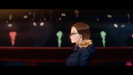 Anamorphic Anime Rose Bridge Night
