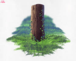 Digital Painting Tree Trunk and Grass Anime Style