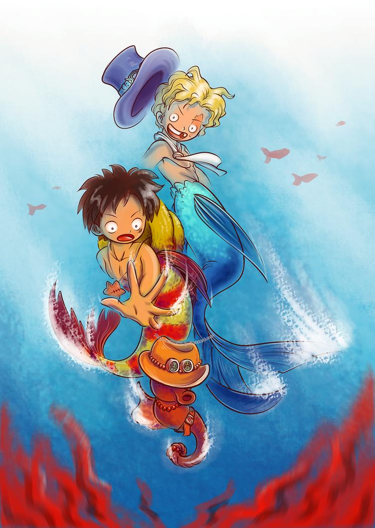 Underwater Adventures (mer!AU One Piece fanart) by MajorasMasks