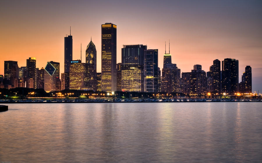 Chicago Sunset by cvhuie