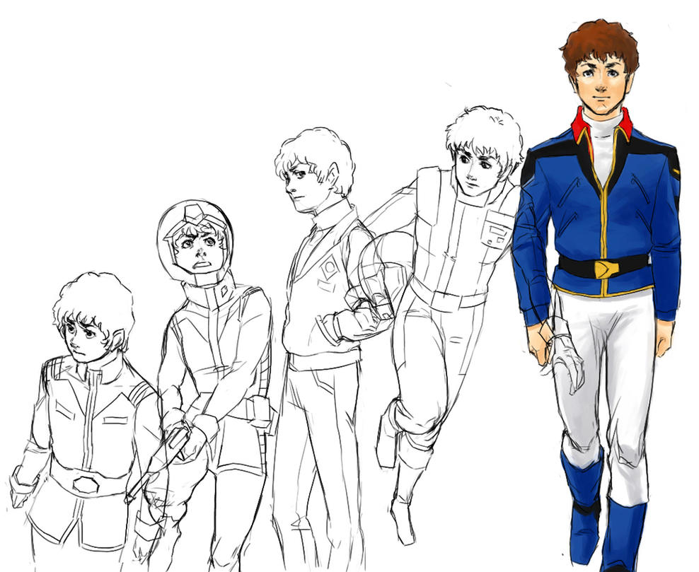 hero's evolution - Amuro Ray by bluestraggler
