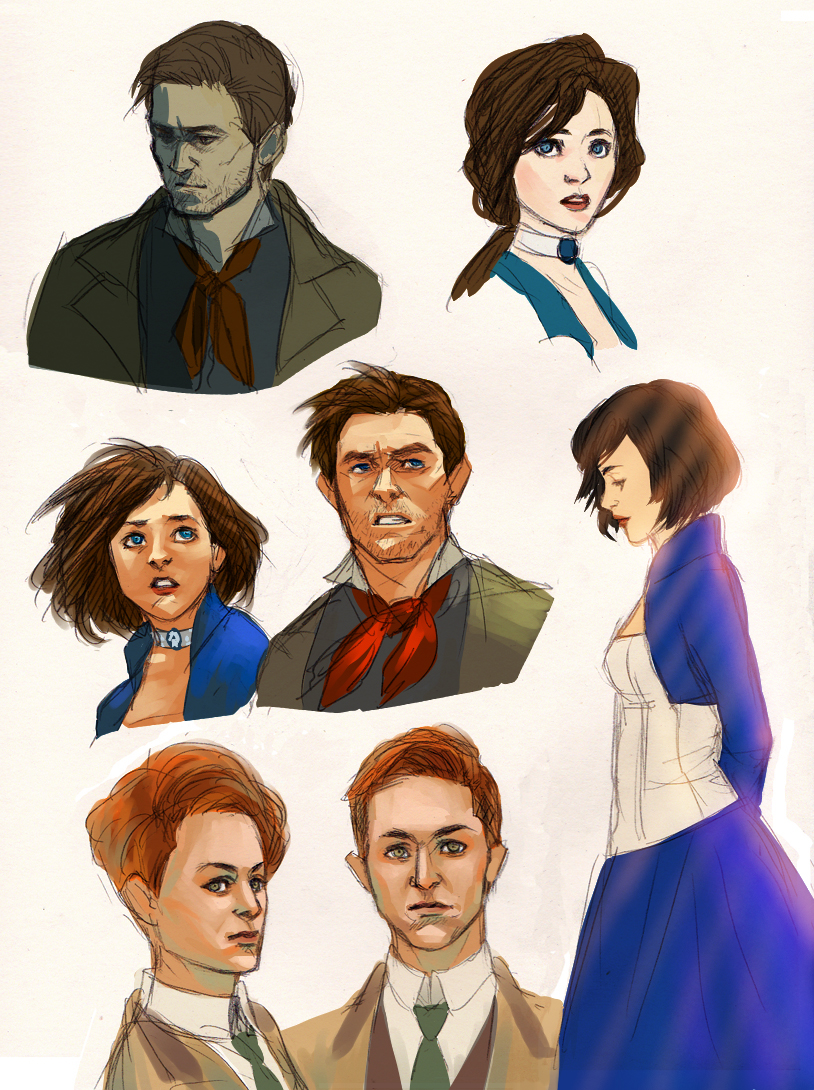 Bioshock Infinite sketches by bluestraggler