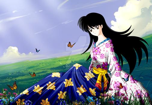 Rin Flowers Kimono and Butterflies