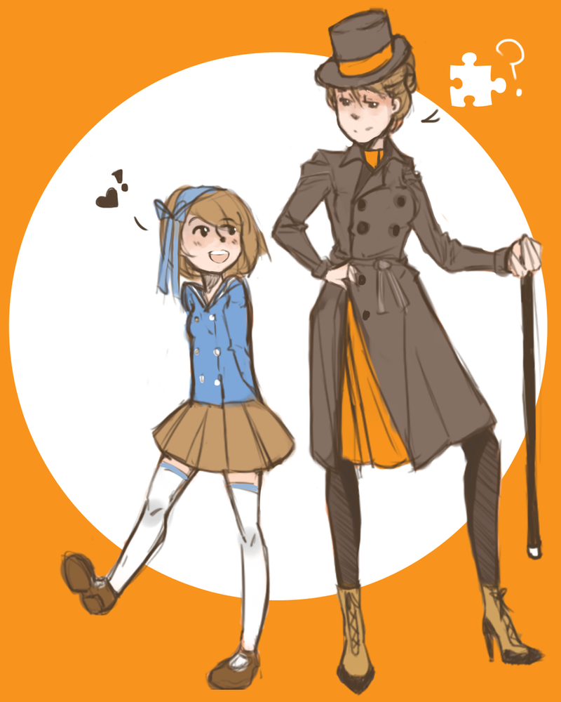 Genderbend Professor Layton: Luke and Layton by applesandpeaches