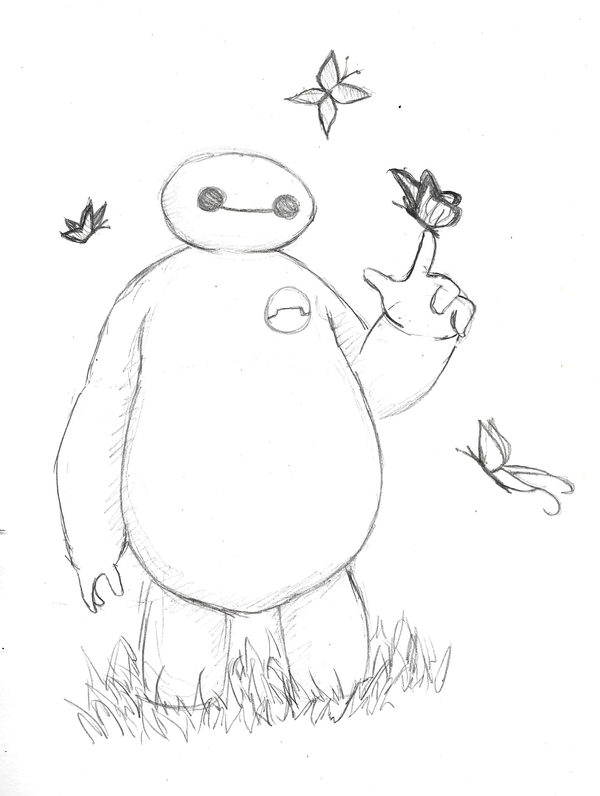 Baymax and Butterflies by fryzylstyk