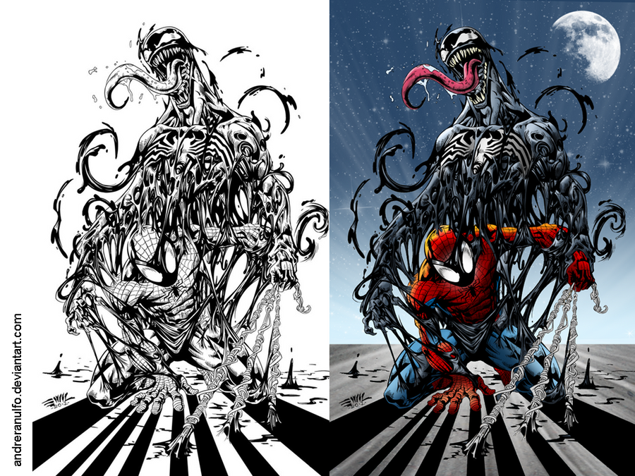 Coloring side by side Spider Man and Venom by andreranulfo on