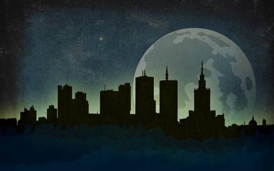 Warsaw Night Skyline Wallpaper by IxoliteFH