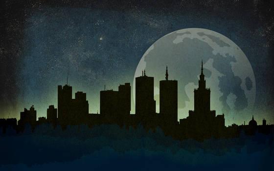 Warsaw Night Skyline Wallpaper