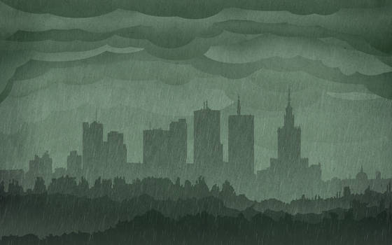 Warsaw Rainy Skyline Wallpaper