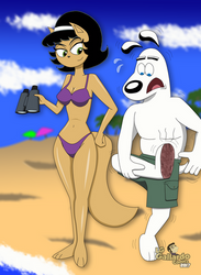Kitty Katswell and Dudley in the beach