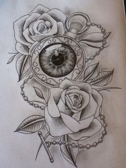 Flower Head Line Drawing : New school pocket watch tattoo design by wiseowlink on