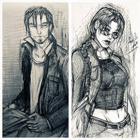 Some kurtis trent x lara croft sketches by Adayka