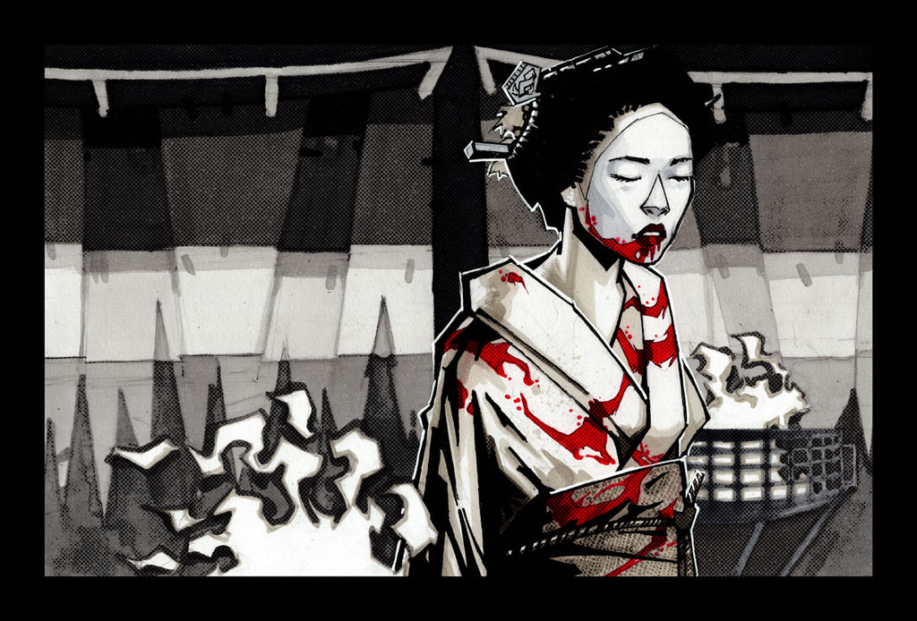 Akane in Kimono and Blood