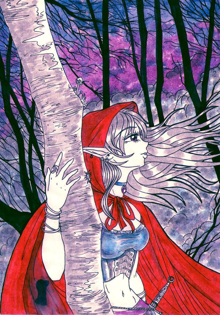 elfa ,atardecer , bosque ,cabello de plata.. by UrielKaido