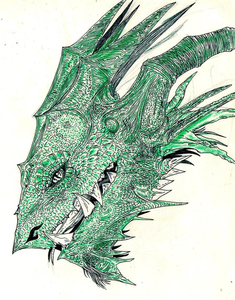 cabeza de dragon crayon jaj by UrielKaido
