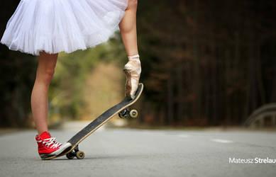 Skateboarding Ballerina by PhotoYoung