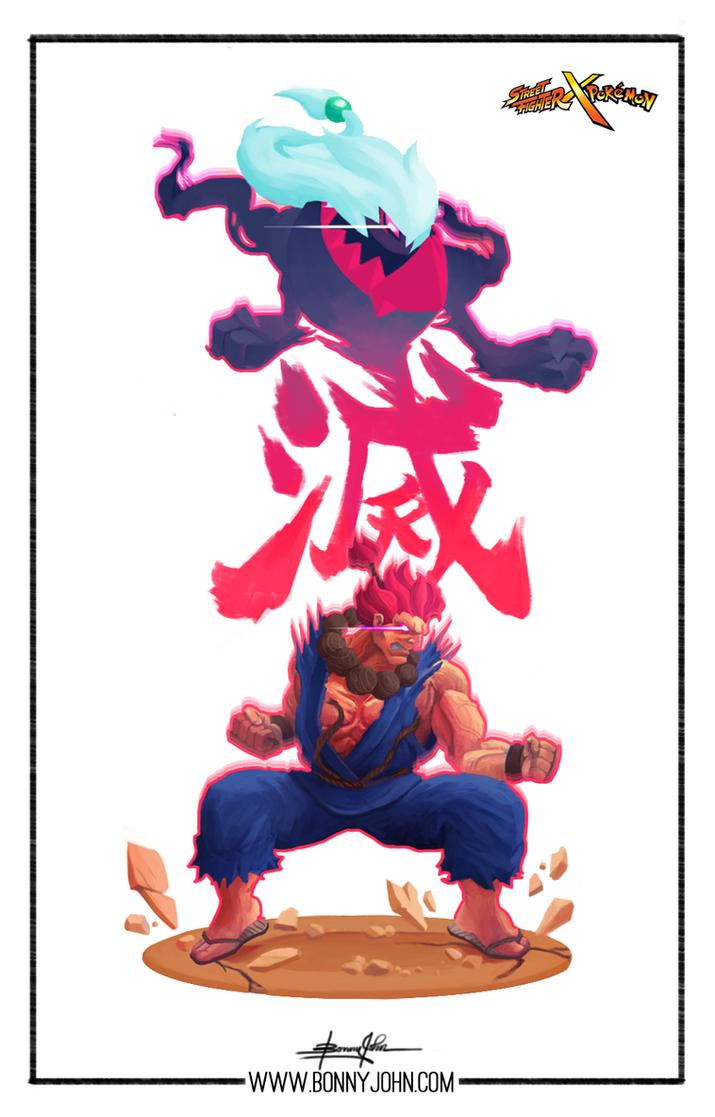 Akuma x Darkrai/Zoroark - Street Fighter x Pokemon by BonnyJohn