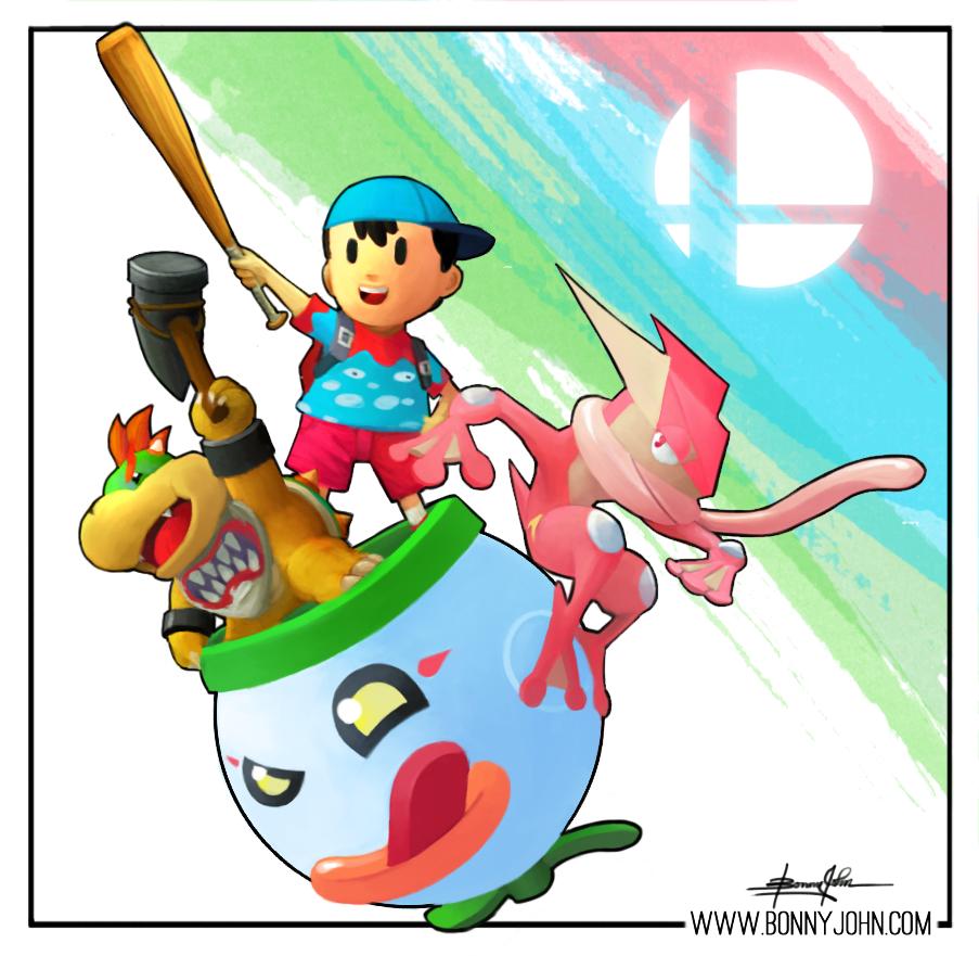 My Smash 4 Mains!  Bowser Jr., Greninja, and Ness! by BonnyJohn