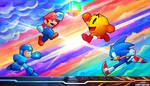 Mario, Sonic, Pac-Man, Mega Man!  Smash SpeedPaint by BonnyJohn