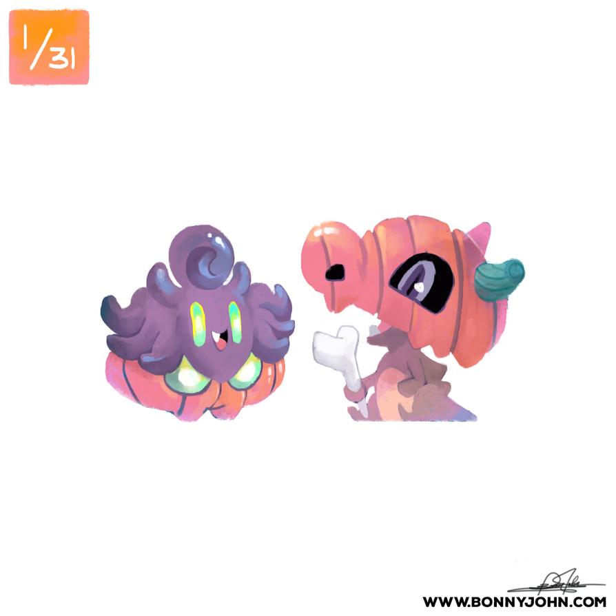 10/01 - Pumpkaboo and Cubone! by BonnyJohn