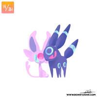 10/14 - Espeon and Umbreon! by BonnyJohn