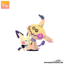 10/18 - Mimikyu and Pichu! by BonnyJohn