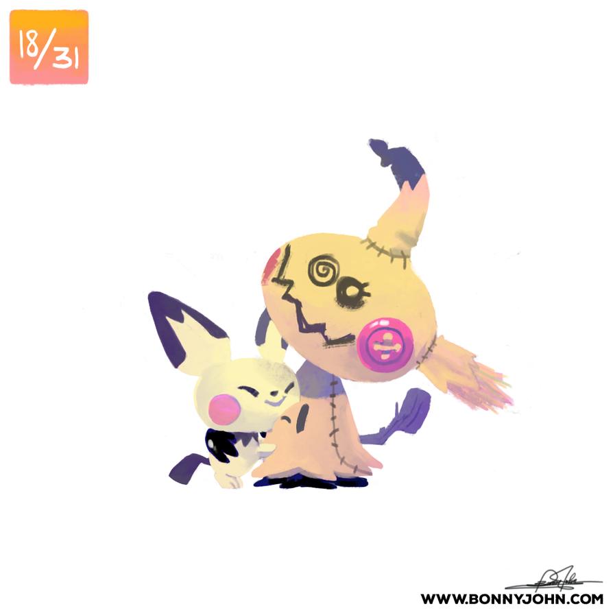 10/18 - Mimikyu and Pichu! by BonnyJohn