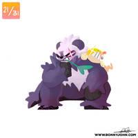 10/21 - Pangoro and Scraggy! by BonnyJohn