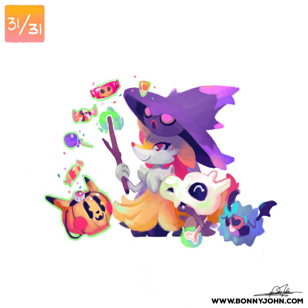10/31 - Cubone, Braixen, Mismagius and Woobat! by BonnyJohn